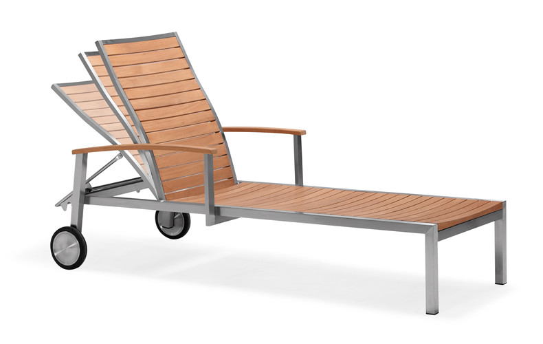 Teak slat water proof garden sun lounger (C003MF)