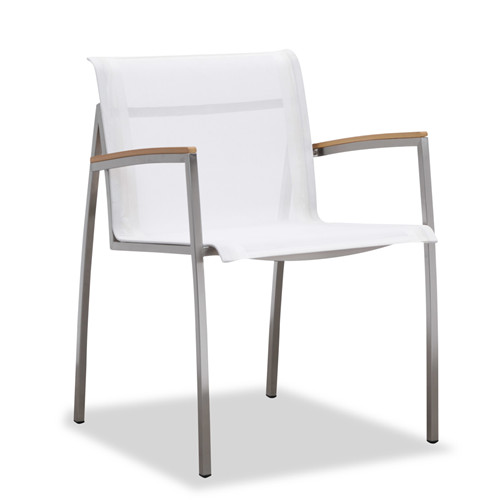 White outdoor dining chair with armrest(Y302BF)