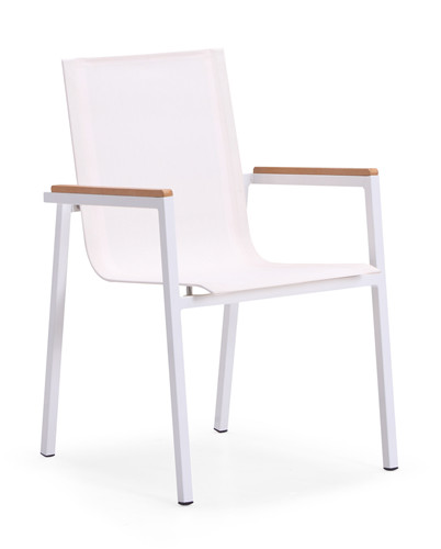 Stackable aluminium dining chair with teak armrest(Y010ABF)
