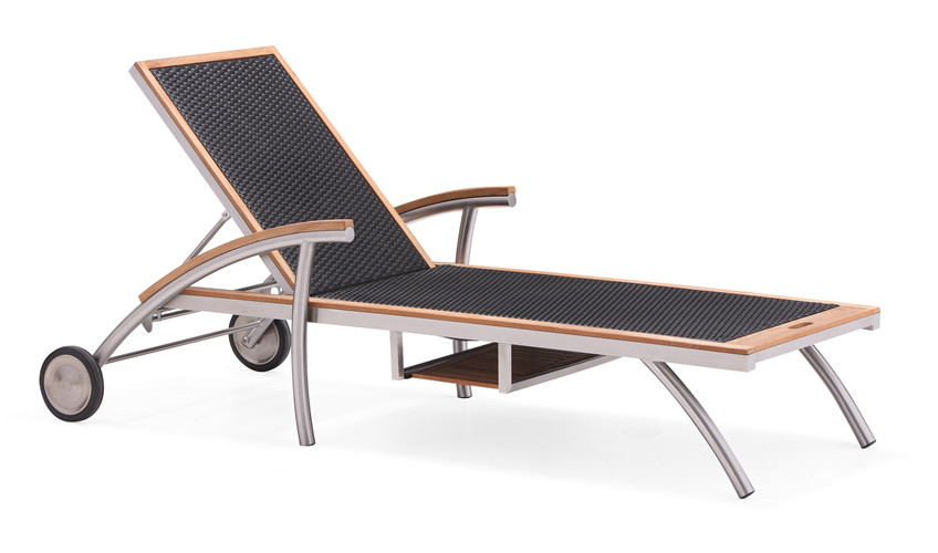 Teak all weather adjustable sun lounger (C011TF)